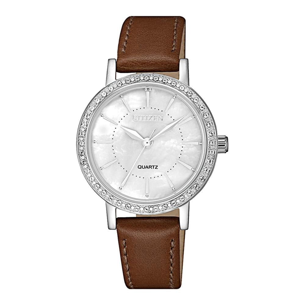 Citizen Brown Leather Ladies Watch - EL3040-12D