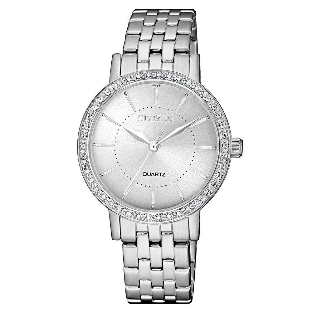 Citizen Ladies White & Silver Stainless Steel Quartz Watch - EL3040-80A