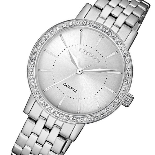 Citizen Ladies Swarovski Crystals Stainless Steel Quartz Watch - EL3040-80A