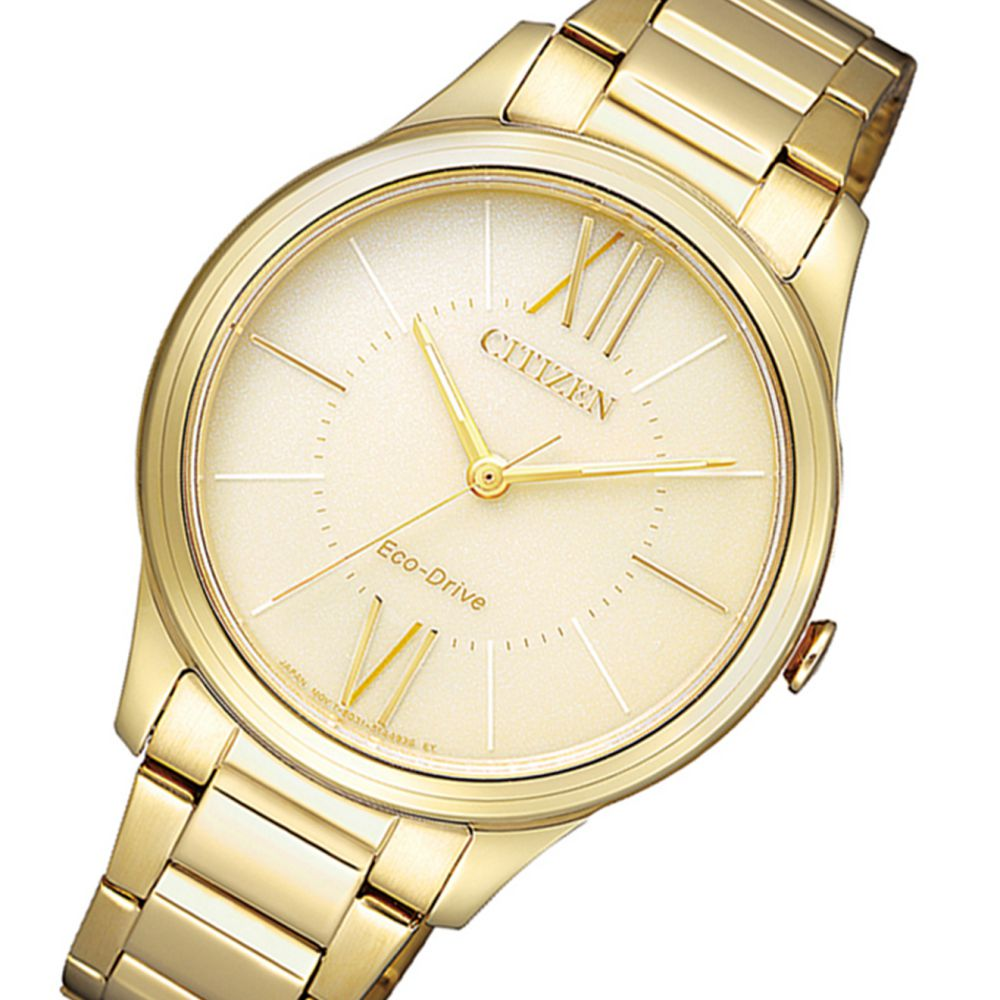 Citizen Gold Steel Bracelet Ladies Eco-Drive Watch - EM0412-52P