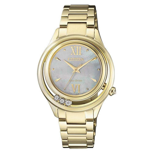 Citizen Diamond Gold Steel Eco-Drive Women's Watch - EM0512-82D