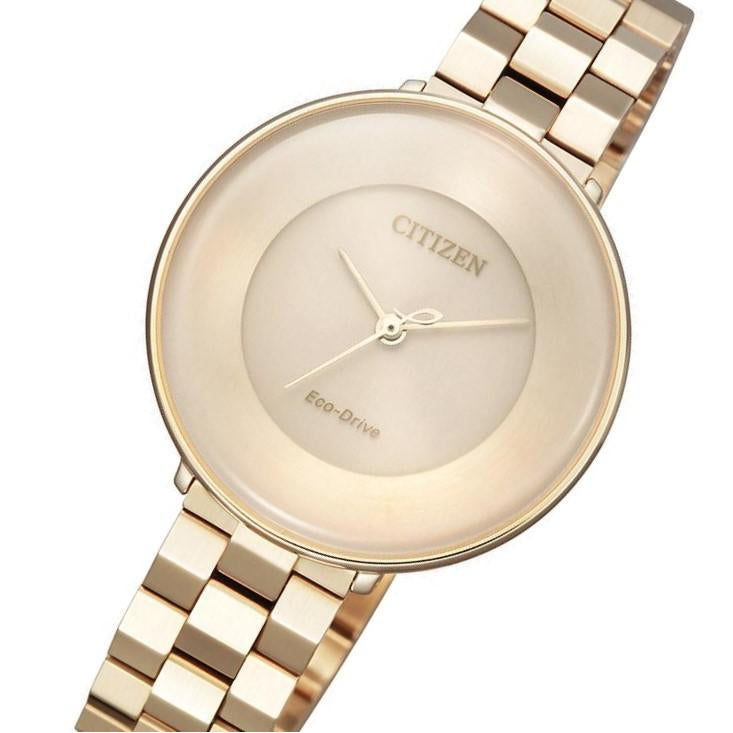 Citizen Ladies Gold Eco-Drive Stainless Steel Watch - EM0603-89X