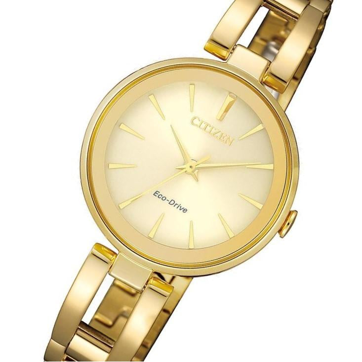 Citizen Ladies Dress Eco-Drive Gold Stainless Steel Watch - EM0632-81P