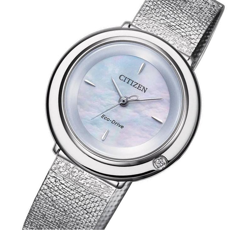 Citizen Ladies Diamond Eco-Drive Silver Steel Mesh Watch - EM0640-82D