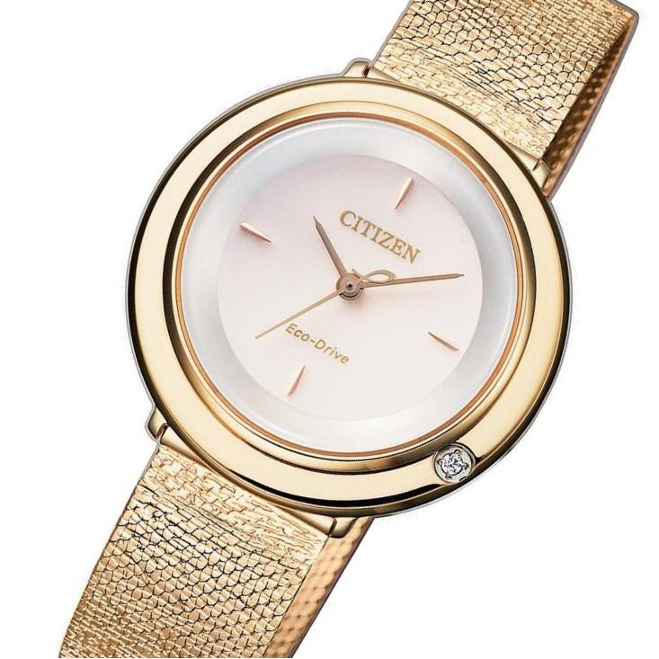 Citizen Ladies Diamond Eco-Drive Gold Steel Mesh Watch - EM0643-84X