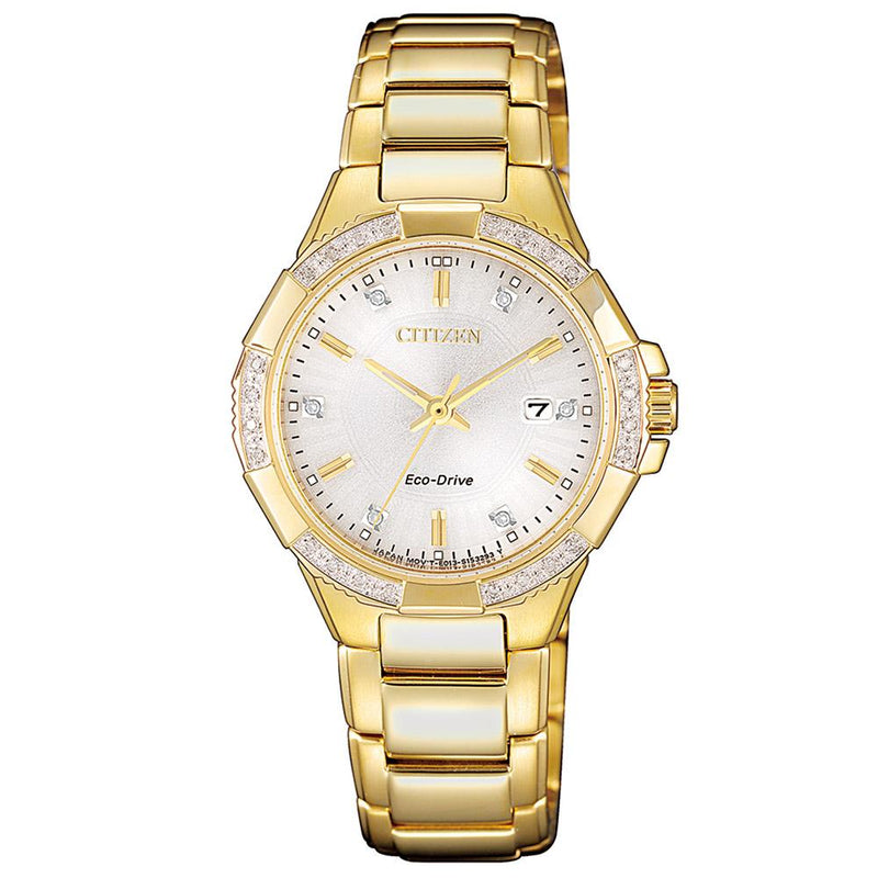 Citizen Ladies Diamond Eco-Drive Stainless Steel Watch - EW2462-51A