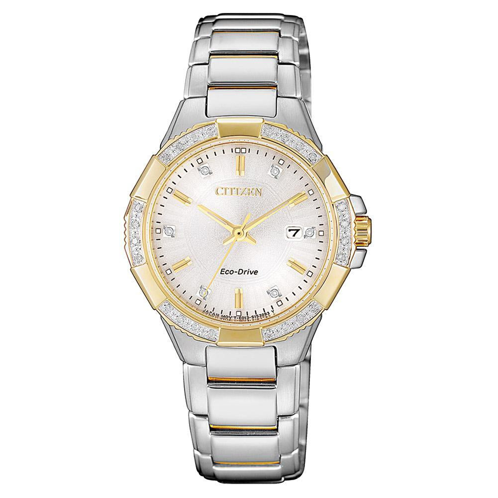 Citizen Ladies Diamond Eco-Drive Stainless Steel Watch - EW2464-55A
