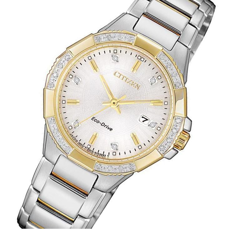 Citizen Ladies Diamond Eco-Drive Gold & Silver Stainless Steel Watch - EW2464-55A