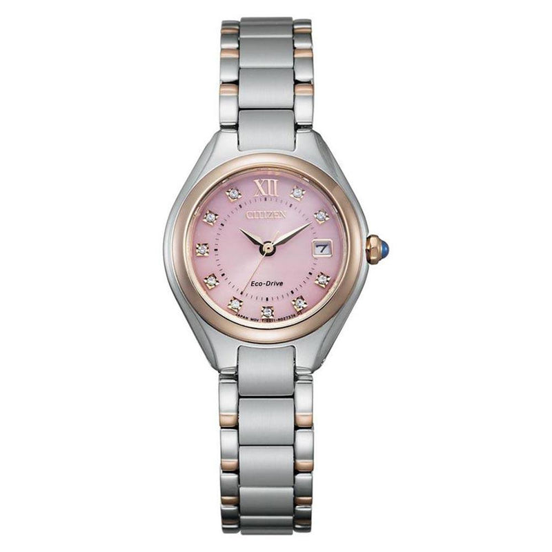 Citizen Two-Tone Steel with Swarovski Crystals Eco-Drive Women's Watch - EW2546-87X