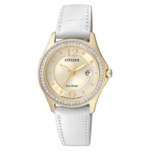 Citizen Leather Eco-Drive with Swarovski Women's Watch - FE1142-05P