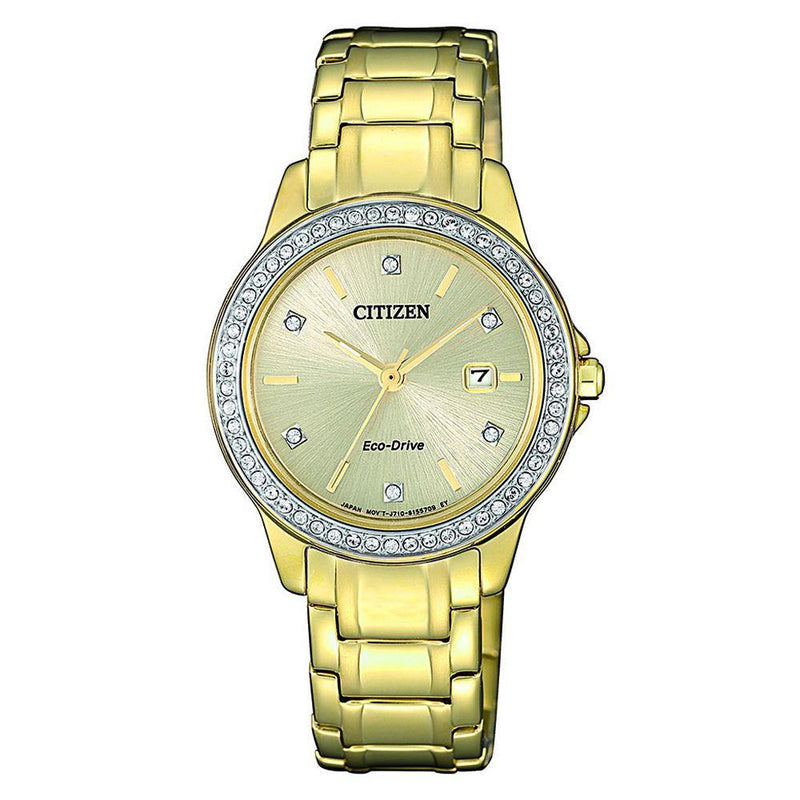 Citizen Gold Steel Ladies Solar Watch - FE1172-55P