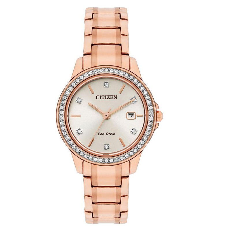 Citizen Rose Gold Steel Ladies Solar Watch - FE1173-52A