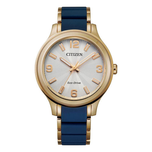 Citizen Stainless Steel and Blue Silicone Band Ladies Solar Watch - FE7078-93A