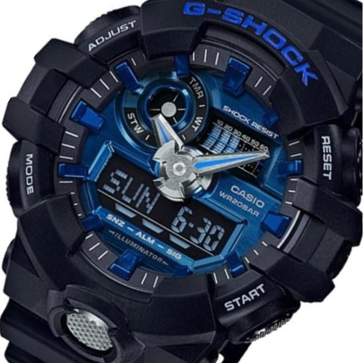 Casio G-Shock Black & Neon Blue Digital Analog Men's Watch - GA710-1A2