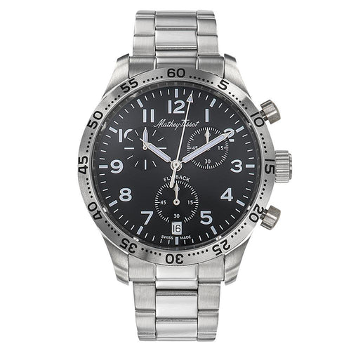 Mathey-Tissot Type 21 Flyback Stainless Steel Black Dial Men's Swiss Made Watch - H1821CHANG
