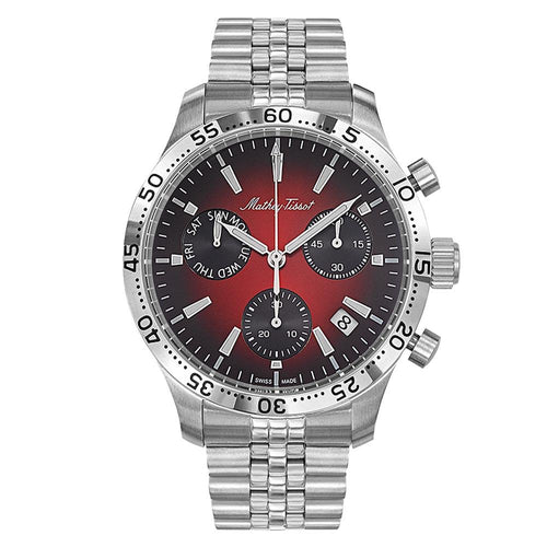 Mathey-Tissot Type 22 Chrono Stainless Steel Smoked Red Dial Men's Swiss Made Watch - H1822CHAR