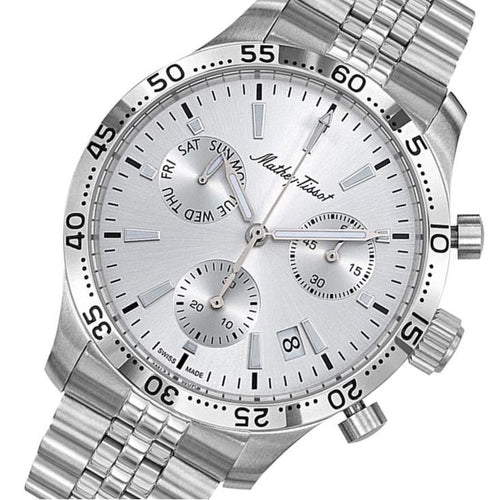 Mathey-Tissot Type 22 Chrono Stainless Steel Silver Dial Men's Swiss Made Watch - H1822CHAS