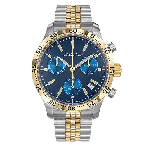Mathey-Tissot Type 22 Chrono Stainless Steel Smoked Blue Dial Men's Swiss Made Watch - H1822CHBU