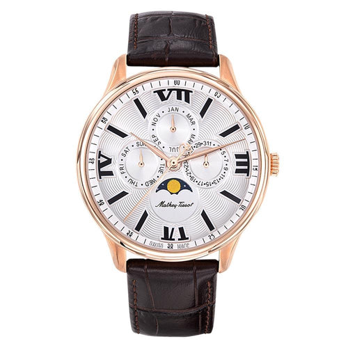 Mathey-Tissot Edmond Moon Leather White Dial Men's Swiss Made Watch - H1886RPI