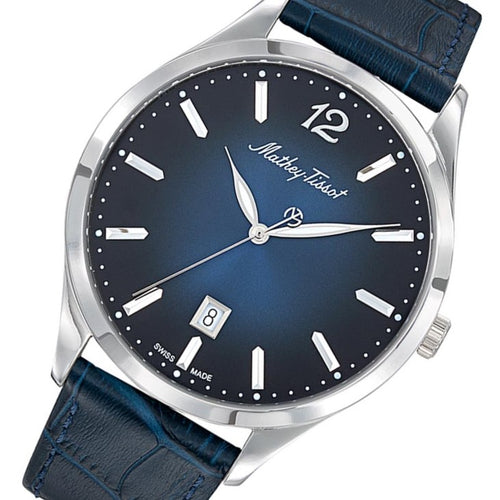 Mathey-Tissot Urban Leather Blue Dial Men's Swiss Made Watch - H411ABU
