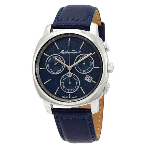 Mathey-Tissot Smart Chrono Leather Blue Dial Men's Swiss Made Watch - H6940CHABU