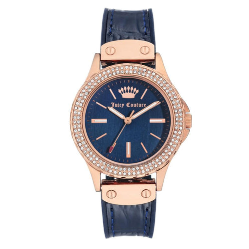 Juicy Couture Navy Silicone & Leather Band Ladies Watch - JC1008RGNV