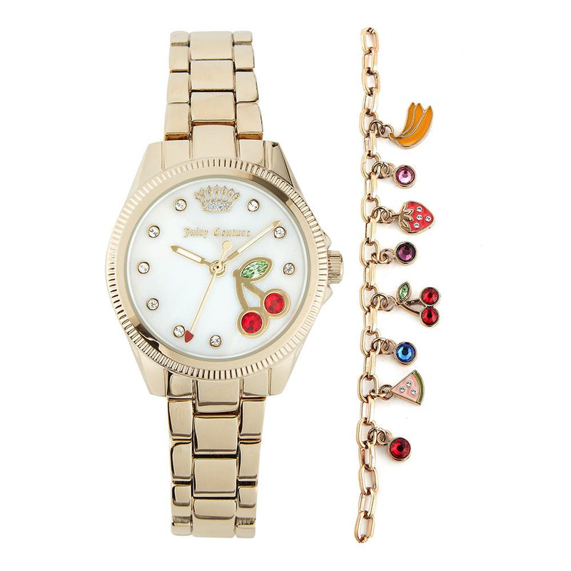 Juicy Couture Ladies Gold Watch & Bracelet with Charms - JC1166GBST