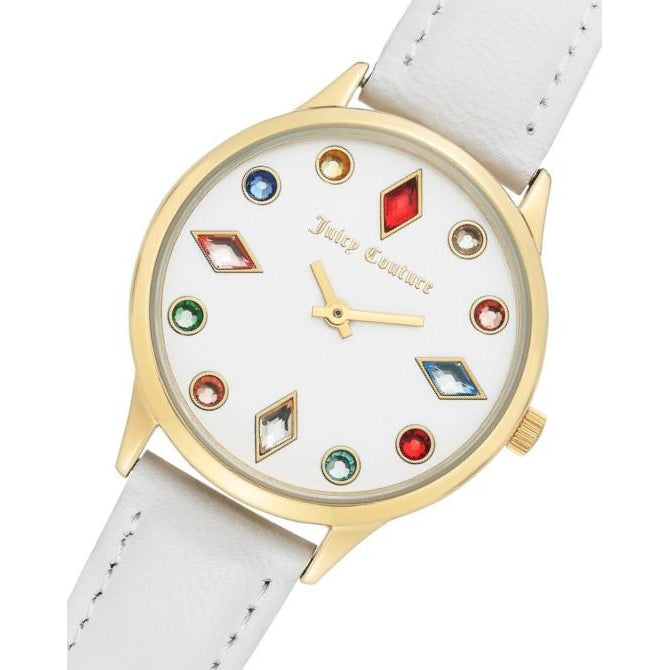 Juicy Couture White Dial with Multi-colour Swarovksi Crystals Ladies Watch - JC1194MTWT