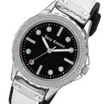 Juicy Couture White & Black Vegan Leather-Silicone Band Ladies Watch - JC1011BKWT