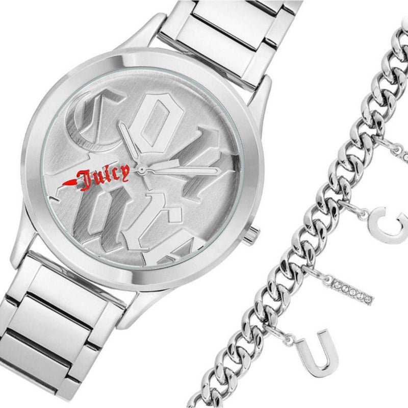 Juicy Couture Ladies Silver Watch & Bracelet with Charms - JC1147SVST