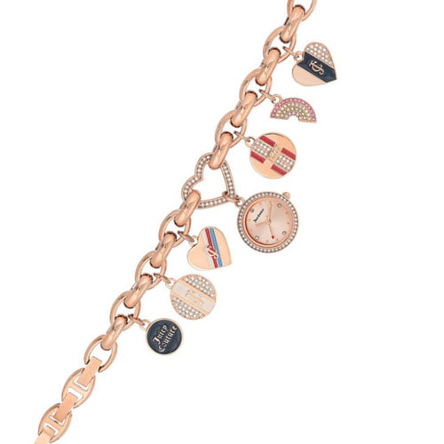 Juicy Couture Ladies Rose Gold Bracelet Watch with Charms - JC1160RGCH