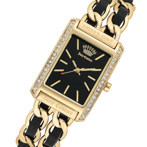Juicy Couture Black Label Linked Gold Steel & Leather Strap Ladies Watch - JC1196BKGB