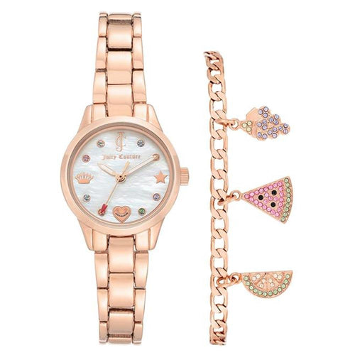 Juicy Couture Rose Gold Steel & Bracelet with Charms Women's Watch - JC1236RGST