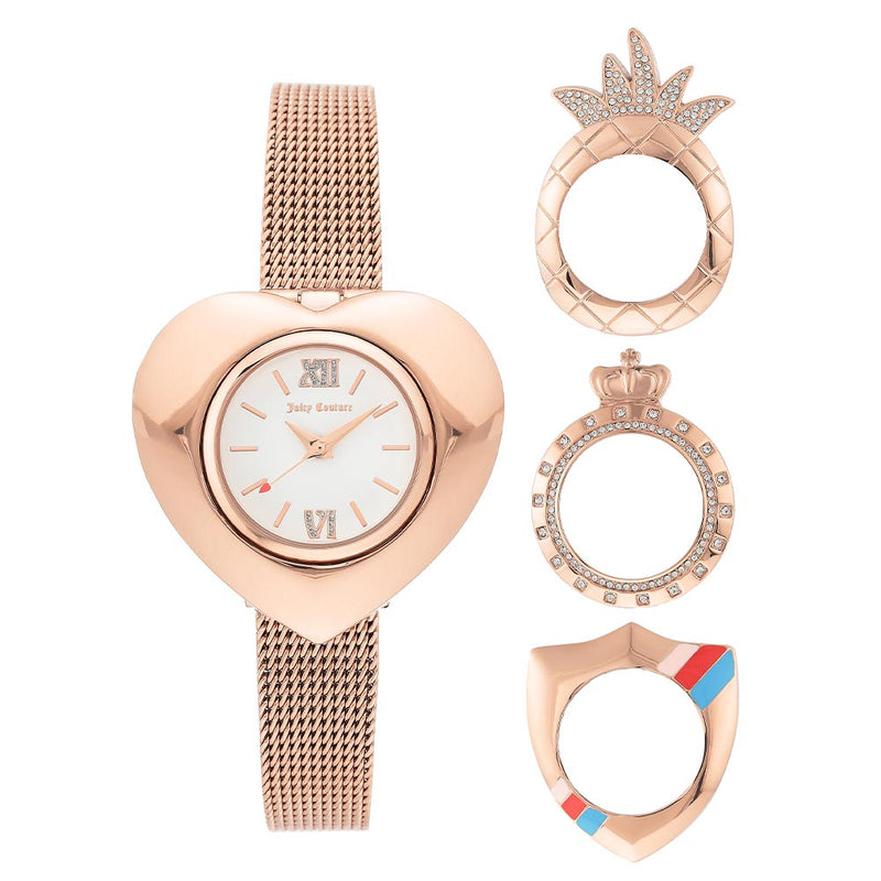 Juicy Couture Rose Gold Mesh with Interchangeable Bezel Set Ladies Watch - JC1262INST