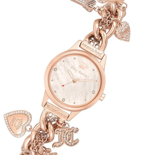 Juicy Couture Rose Gold Chain Bracelet with Crystal Charms Women's Watch - JC1298BMRG
