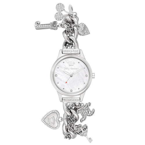 Juicy Couture Silver Chain Bracelet with Crystal Charms Women's Watch - JC1299MPSV