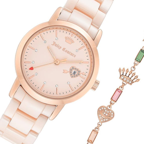 Juicy Couture Light Pink Ceramic Band with Crystal Charm Links Women's  Watch - JC1304PKST
