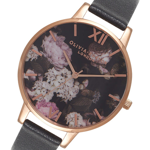 Olivia Burton Signature Floral Black Leather Ladies Watch - OB15WG12