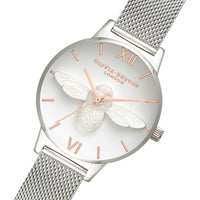 Olivia Burton 3D Bee Silver Mesh Ladies Watch - OB16AM146