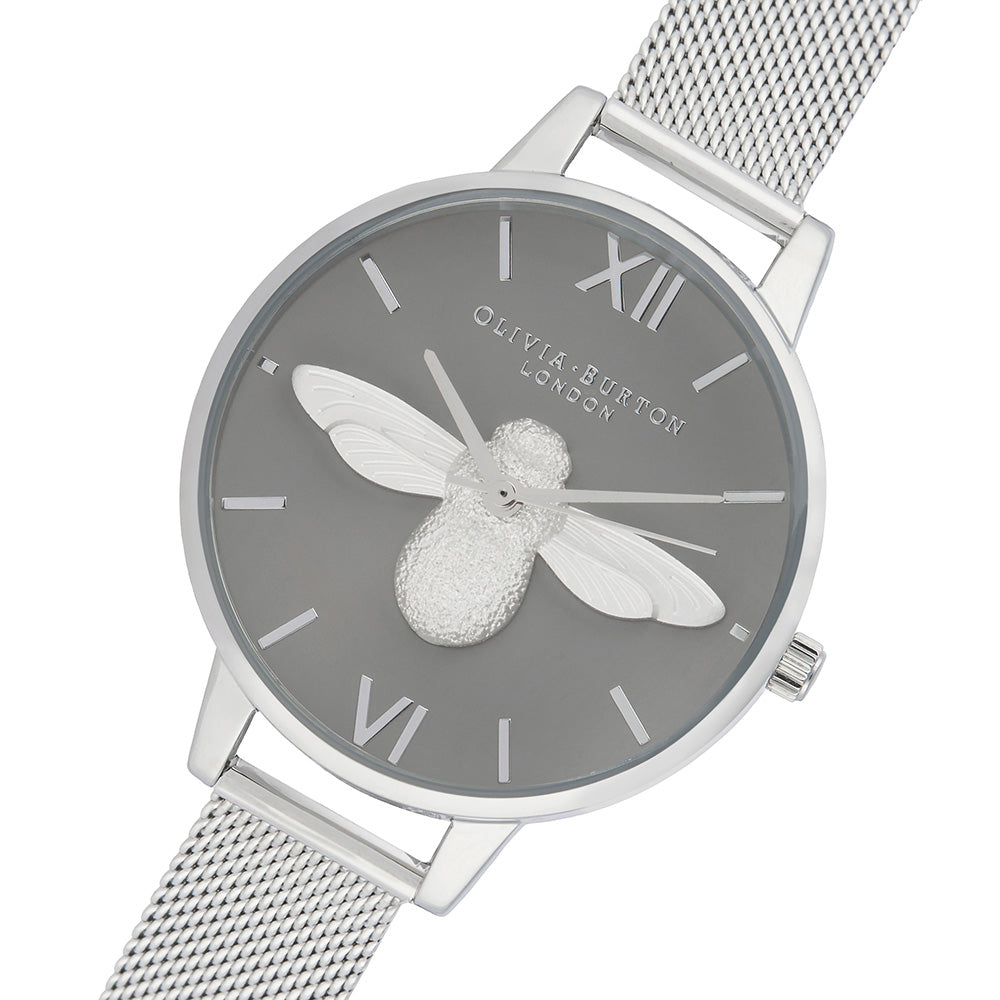Olivia Burton 3D Bee Silver Mesh Ladies Watch - OB16AM159