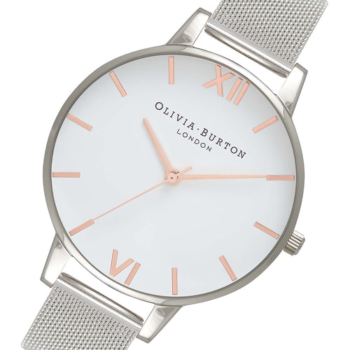 Olivia Burton Silver Mesh Ladies Watch - OB16BD97