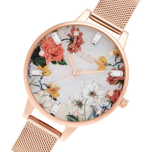 Olivia Burton Demi Mother of Pearl Dial Gold Mesh Women's Watch - OB16BF28
