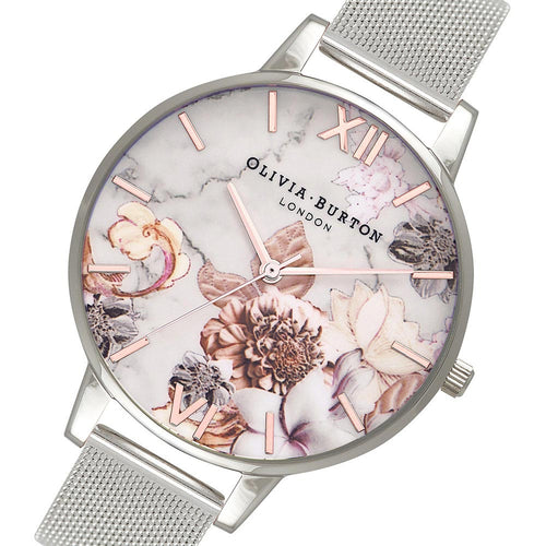 Olivia Burton Marble Floral Rose Gold & Silver Mesh Ladies Watch - OB16CS10