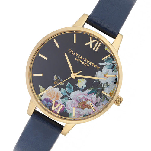 Olivia Burton Enchanted Garden Navy Leather Ladies Watch - OB16EG113