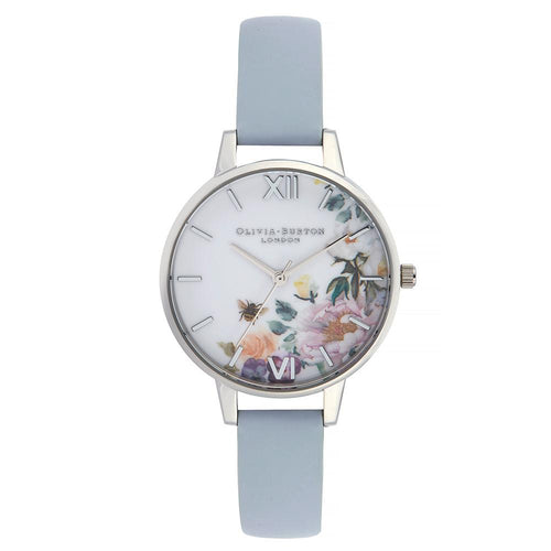 Olivia Burton Enchanted Garden Chalk Blue Leather Ladies Watch - OB16EG114