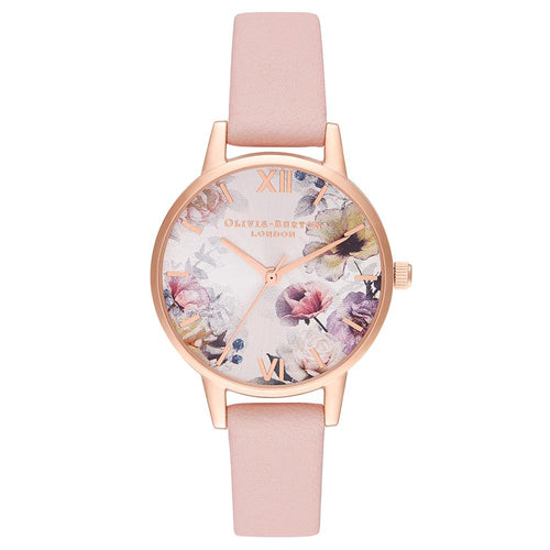 Olivia Burton Sunlight Florals Dusty Pink Leather Ladies Watch - OB16EG115