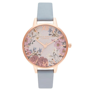 Olivia Burton British Blooms Chalk Blue Leather Ladies Watch - OB16EG132