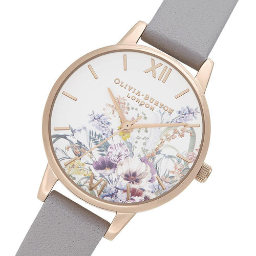 Olivia Burton Enchanted Garden Grey Lilac Leather Ladies Watch - OB16EG150