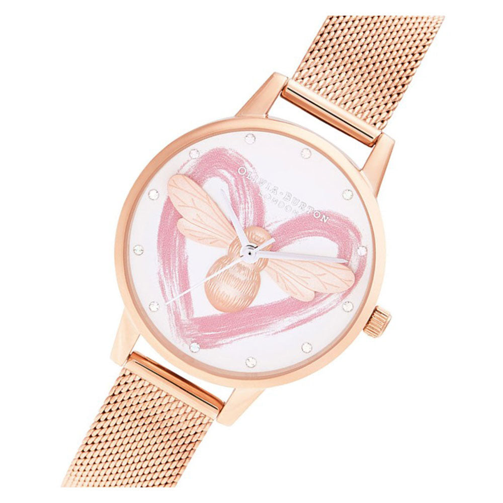 Olivia Burton You Have My Heart Lucky Bee & Rose Gold Mesh Ladies Watch - OB16FB01