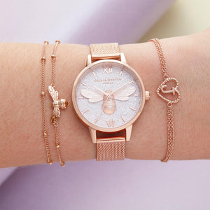 Olivia Burton Glitter Dial Lukcy Bee & Rose Gold Mesh Ladies Watch - OB16FB04